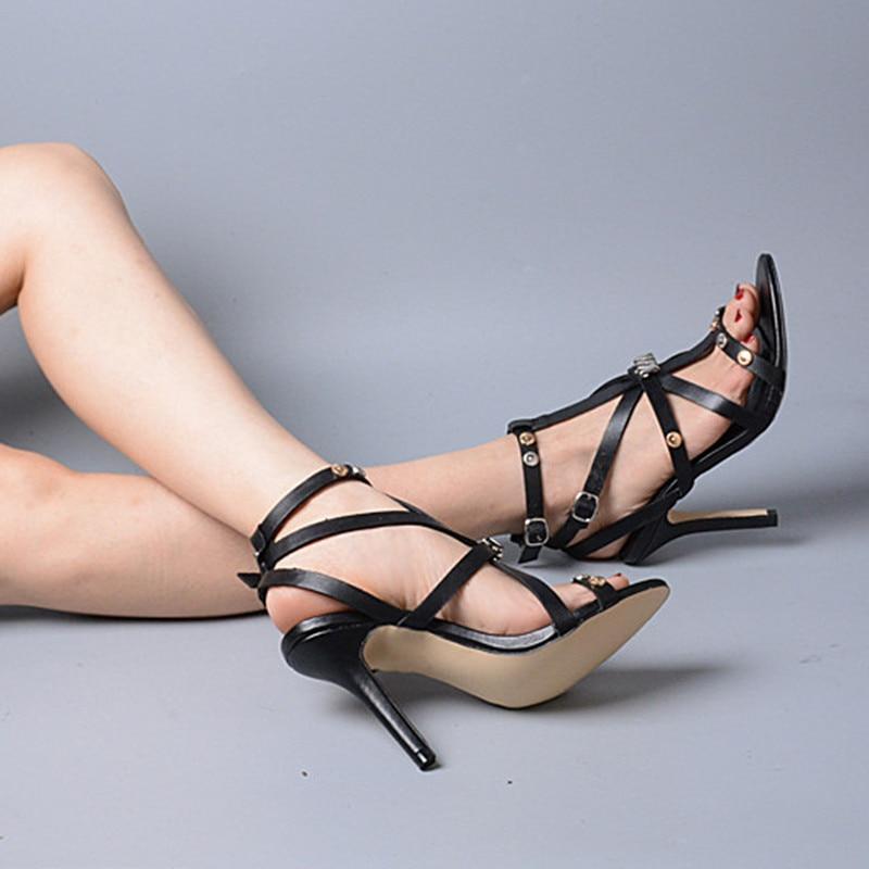 Cruzado Roma Tobillo Prova Conciso Perfetto Tacón Diseño Estrecha Cuero Zapatos Sandalias Estilo Black Genuino Alto Banda De Fino Correa Hebilla 5X4Fq48