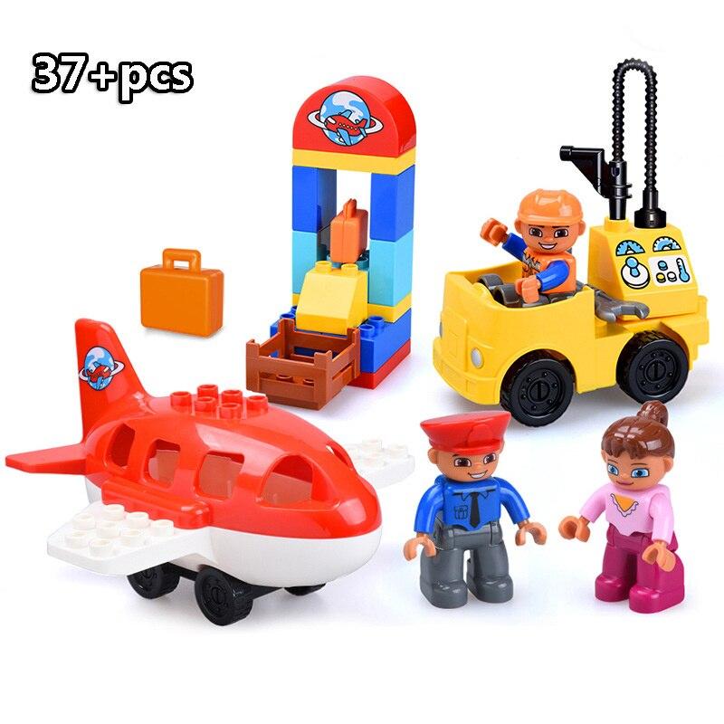 13-109pcs Large particles City Transport Team Car Model Series Building Block Bricks Compatible Duploe Toys for children Kids GIft (17)