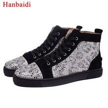 Hanbaidi Runway High Top Lace Up Mens Sapatos Casuais Marca De Luxo Rebanho Strass Mens Mocassins Homens Sapatos Tenis Masculino Adulto