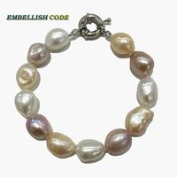 Rainbow Lustrous Semi Baroque Irregular Pearl Bracelet Mixed Color White Pink Purple Stely Real Freshwater Pearls