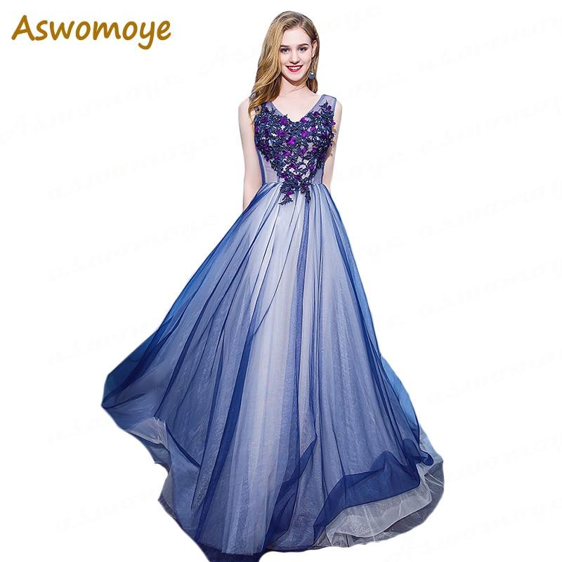 Aswomoye Elegant Beaded Crystal V-neck   Evening     Dress   Long 2018 Appliques Flower Prom   Dress   Illusion Blue Organza robe de soiree
