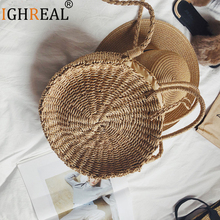 Women Handbag Summer Beach Tote Circle Bag Handmade Rattan Woven Round handbag Vintage Retro Straw Knitted Messenger Bag
