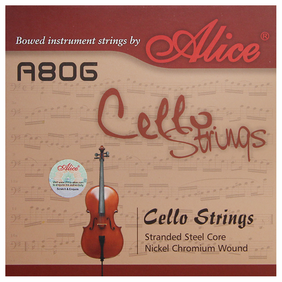 ALICE A806 General Cello Strings with Stranded Steel Core and Nickel Chromium Wound / Cello Accessories
