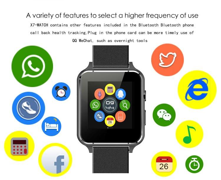 Bluethooth tarjeta sim smartwatch x7 tarjeta tf cámara de smart watch anti-perdi