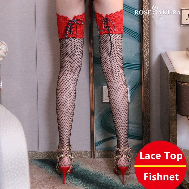 Sexy New Fishnet Mesh Stockings Women Thigh High Lace Top Detail Over Knee See Through Fishnet