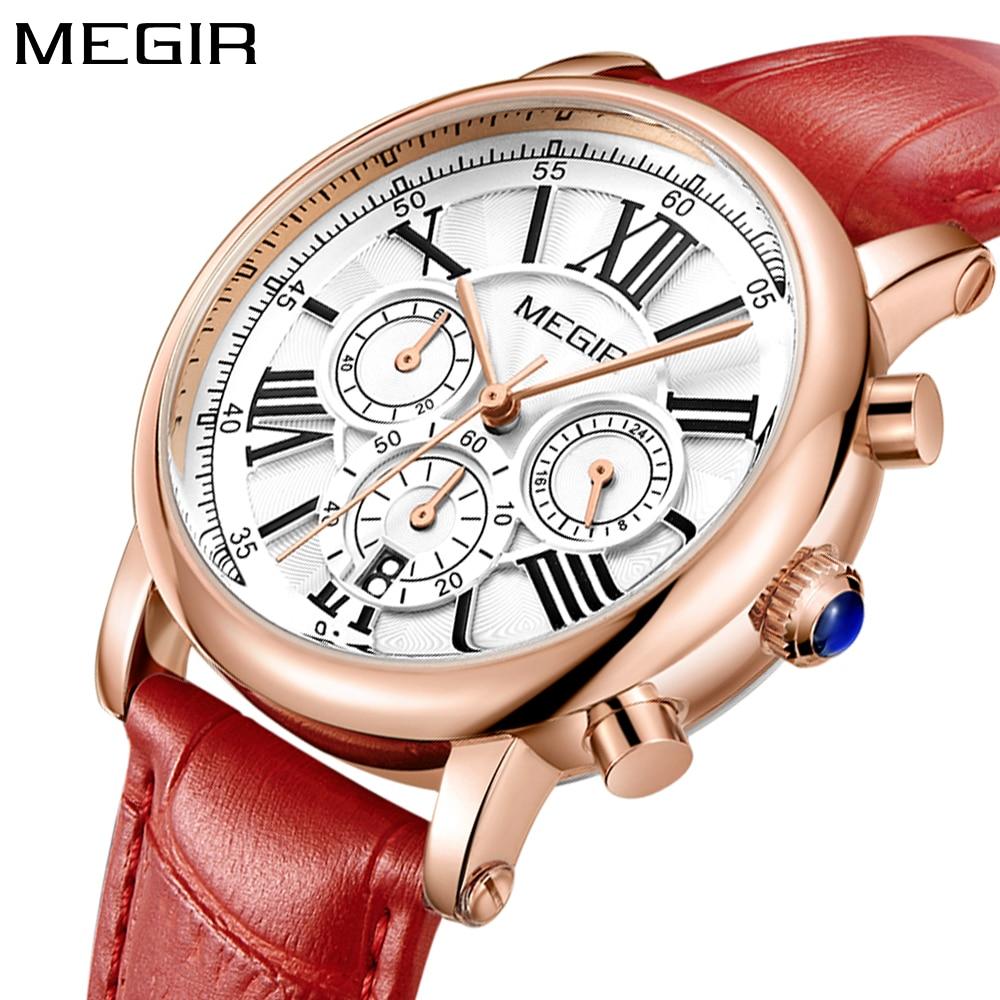 2018 New Megir Luxury Brand Fashion Ladies Watch Chronograph Sport Dress Rose Gold Quartz Wristwatch Red Leather Women Watches