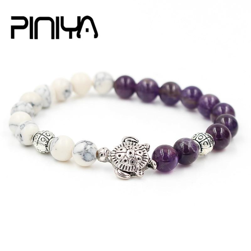 PINIYA Drop Shipping Natural 8MM Purple Stone & White Howlite Stone Bead Turtle Charm Elastic Girl Gift Bracelet Animal Jewelry