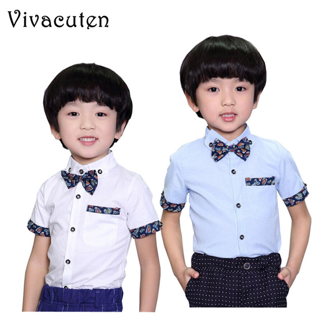 fdc4b78847f 2018 New Boys Summer Wedding Shirts with Bowtie Cotton Short Sleeve Shirts  for Boys Kids Solid Formal Party Shirts Clothes F082