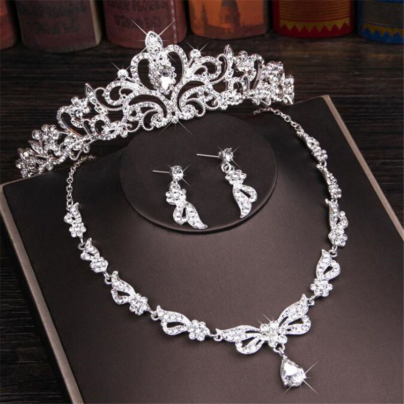 Luxury Crystal Rhinestone Crown Necklace Earring Jewelry Sets Fashion Bridal Tiara Necklaces Earrings Sets for Women(China)