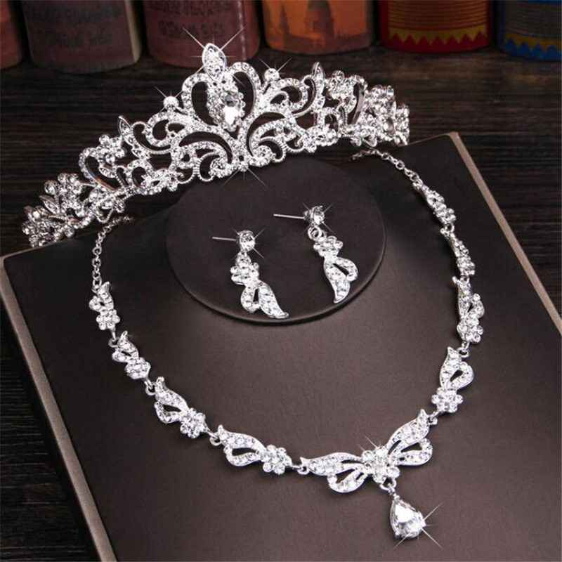 Luxury Crystal Rhinestone Crown Necklace Earring Jewelry Sets Fashion Bridal Tiara Necklaces Earrings Sets for Women