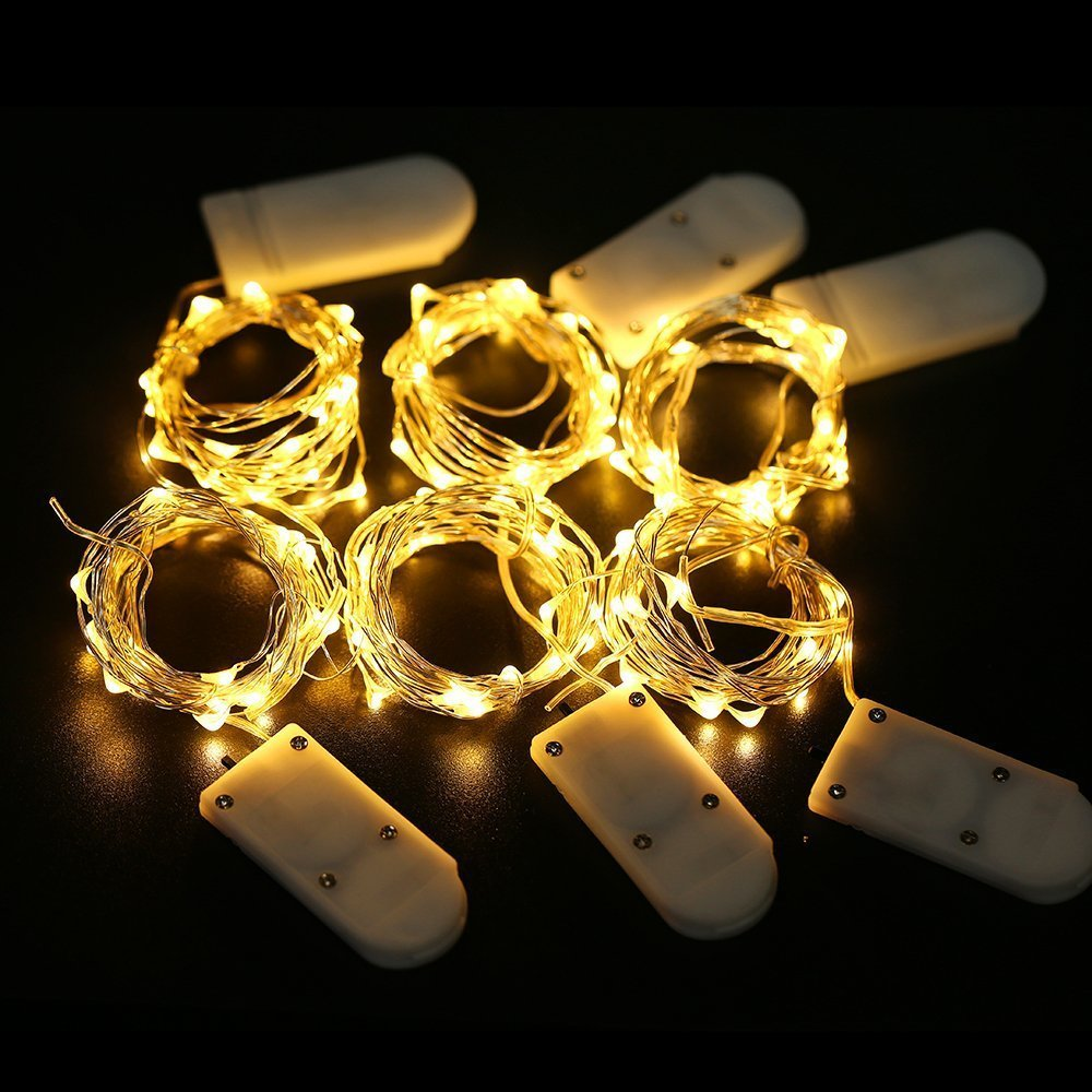 Led String Lights Fairy Micro Lights 2M 20 LEDs CR2032 Battery Powered Silver Wire Waterproof Lights For Home Holiday Decoration