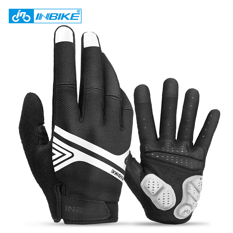 INBIKE Cycling Gloves Touch Screen MTB Bike Gloves Sport Shockproof Full Finger Reflective Winter Bicycle Glove For Men Woman
