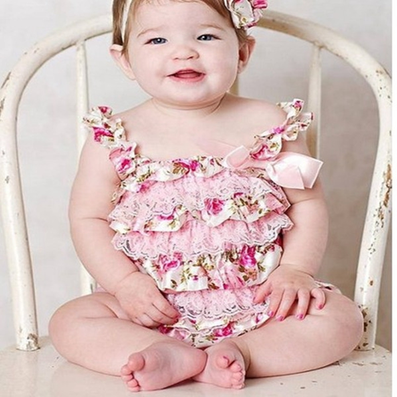 Newborn Baby Rose Lace   Romper   Cute Kids Baby Ruffle Bow Clothes Toddler Girls Robes NewBron Baby 1th Birthday Photo Outfits