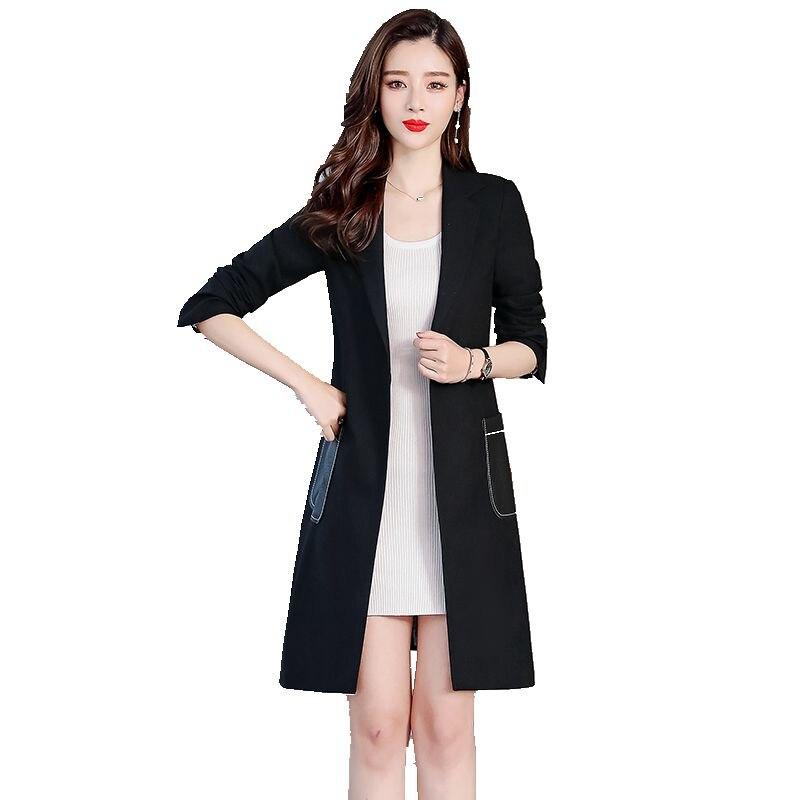 Bri Для женщин пиджак 2019 Новый Весна и осень Для женщин куртка женские, повседневные, свободные черная костюмная куртка