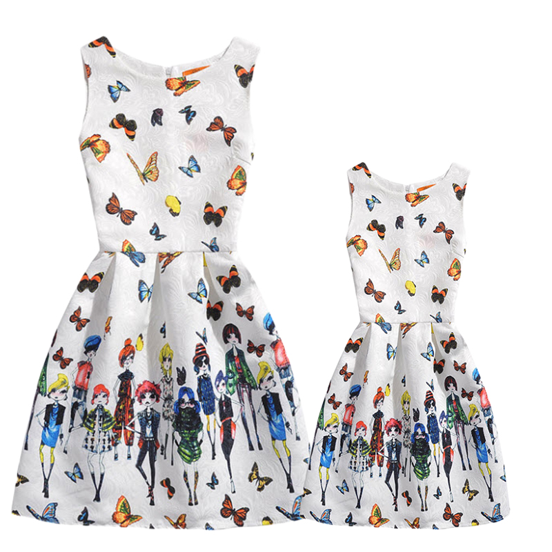 Mother Daughter Dress Summer Sleeveless Butterfly Floral Print Dresses Family Look Matching Clothing Pink Ropa Mama E Hija GD17