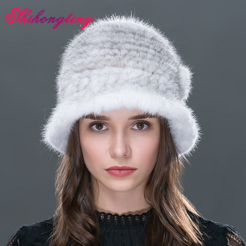 Genuine Mink Fur Knitted Hat Wram Topper Women's Winter Fur Hat and Cap Stripes Flower Caps Pure Color Dome Cap DM-06 foreign trade explosion models in europe and america in winter knit hat fashion warm mink mink hat lady ear cap dhy 36