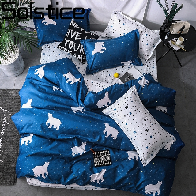 Solstice Cartoon Blue Polar Bear Bedding Sets lovely Pattern Boy girl Bed Linings Duvet Cover Bed Sheet Pillowcases Cover Set
