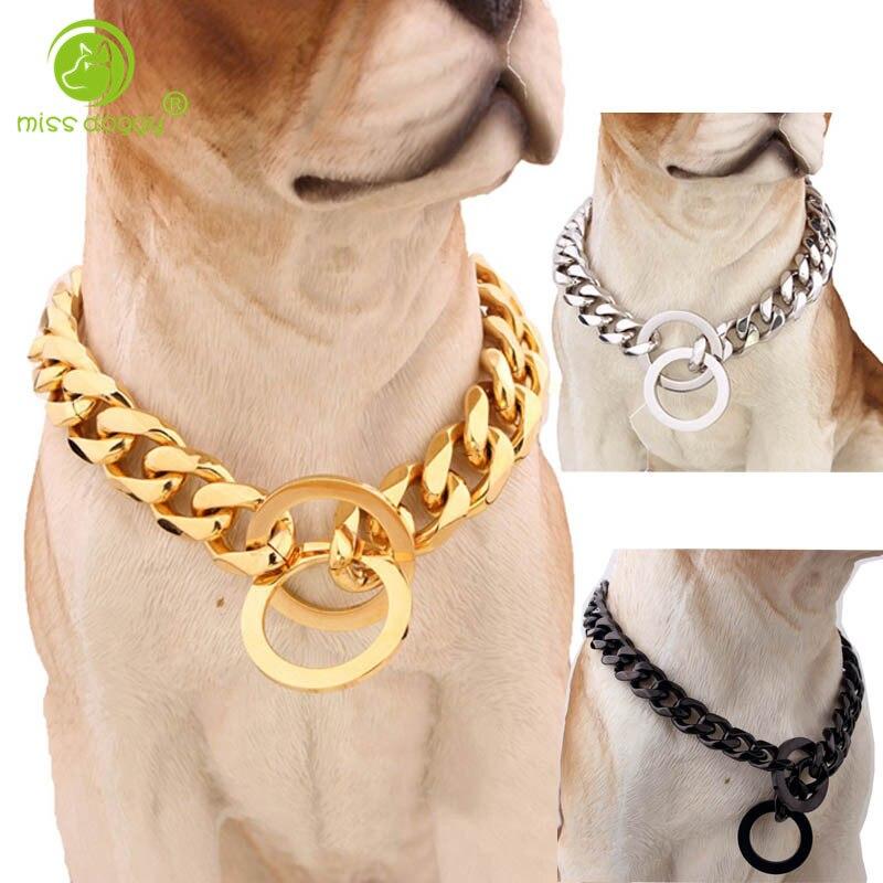 Ev ve Bahçe'ten Yakalar'de 15mm güçlü gümüş altın paslanmaz çelik kayma köpek tasması Metal köpekler eğitim Choke zincir yaka büyük köpekler Pitbull Bulldog title=