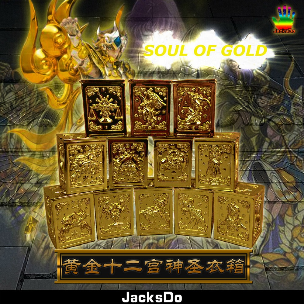 JacksDo 12 Gold Saints Suitcase Soul Of Gold God Cloth Box Saint Seiya Myth Constellation Box Limited Edition cmt jacksdo saint seiya soul of god bronze pandora boxes full set