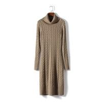 Dress Women Sale Wool Bamboo Fiber Ukraine Zanzea 2018 New Women's Knit Dress Slim Long sleeved High necked Cashmere Female
