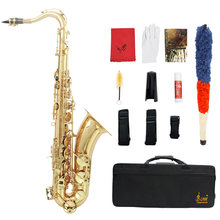 LADE Brass Bb Tenor Saxophone Sax Carved Pattern Pearl White Shell Buttons Wind Instrument(China)
