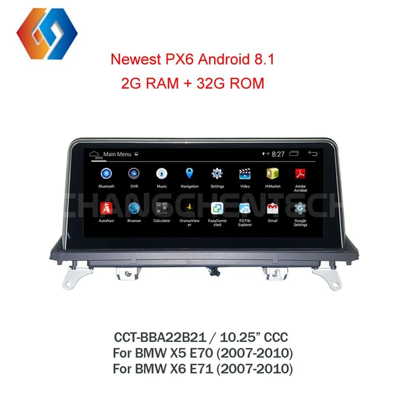 Estéreo del coche de la pantalla táctil para BMW X5 E70 X6 E71 2007-2010 CCC sistema nuevo Android 8,1 GPS del coche multimedia con WiFi BT espejo Link21