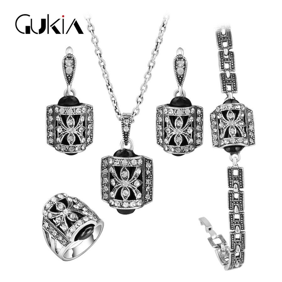 Conjuntos de joyas turcas de Gukin Barnd para mujeres Diseño de moda Anillo de cristal plateado antiguo Conjunto de joyas vintage 4pcs / Sets