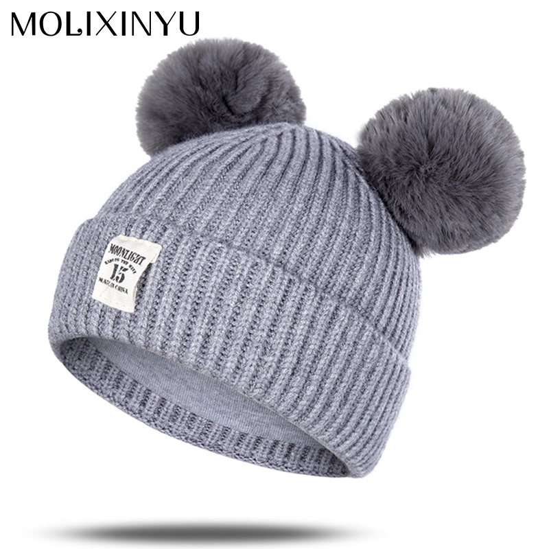 Girls' Clothing Friendly 2018 Baby Winter Hat Fur Pompom Caps Bonnet Enfant Toddler Boys Girls Knitted Cap Cotton Protect The Ears Hats Warm Kids Beanie Buy One Give One