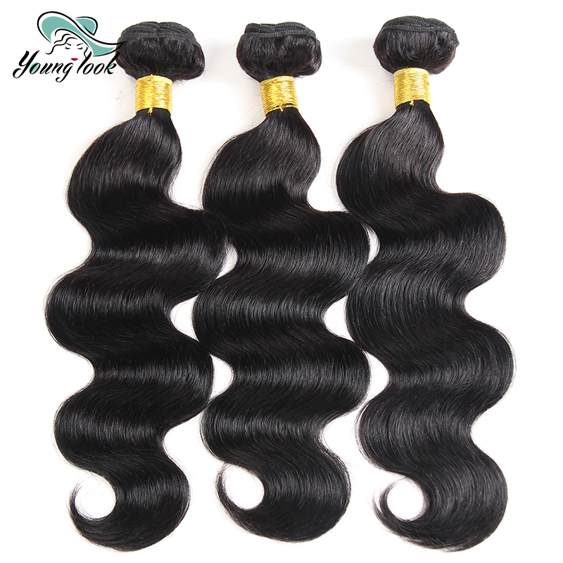 Young Look Peruvian Body Wave 3 Bundles Human Hair weaving natural Black Unprocessed thick and full Bundles No Tangle Non-remy