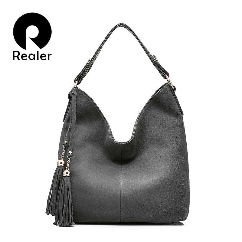 Prix pour REALER marque haute qualité femmes épaule sac en cuir artificiel de mode femmes gland fourre-tout sac dames sac à main solide