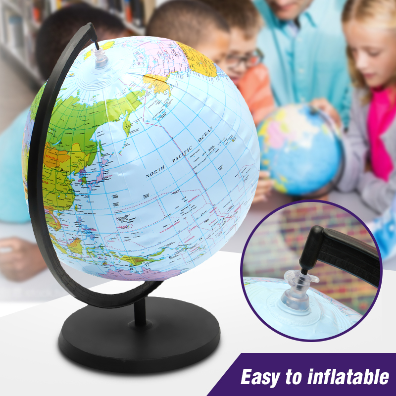 цена на 30cm Inflatable World Globe Earth With Holder Teaching Geography Map Beach Ball Kids Educational Toy Miniatures office gadgets
