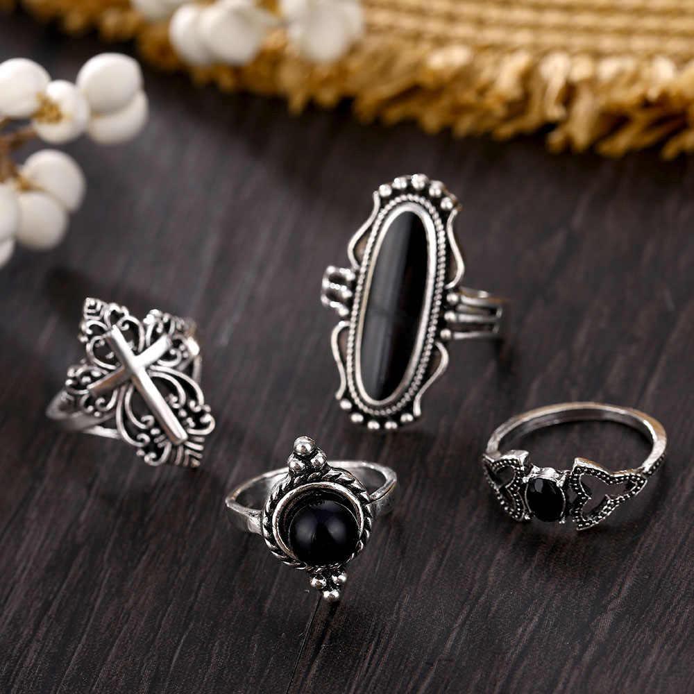 FAMSHIN 12 ชิ้น/เซ็ตผู้หญิงบุคลิกภาพ Punk Big Gem Cross Lotus Elephant หัวใจเงินชุดแหวนงานแต่งงานเครื่องประดับแหวนของขวัญ