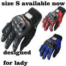 motorcycle gloves full finger red ,blue,black , size S small size for women knight gloves