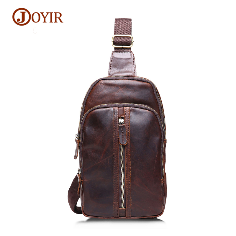 JOYIR Genuine Leather Chest Bag Men Crossbody Shoulder Bags Male Vintage Men Messenger Bag Men's Zipper Flap Phone Chest Pack mva genuine leather men s messenger bag men bag leather male flap small zipper casual shoulder crossbody bags for men bolsas
