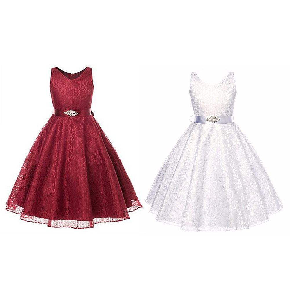 2017 Evening Girls Party Dresses Princess Lace Kids Clothes Sleeveless Elegant Birthday Dress 3 to 12 Years 2017 new summer girls dress girls sleeveless dresses princess party kids clothes 3 12 years children birthday evening clothing