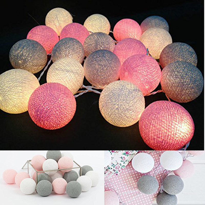 White Gray Pink 4M Battery Powered Led Cotton ball...