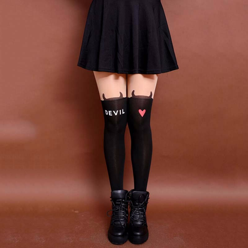 Latest Fashion Devil Letter Pattern Knee High Tights Tattoo Stockings Girls Sexy Pantyhose Women Nylon Tight ...