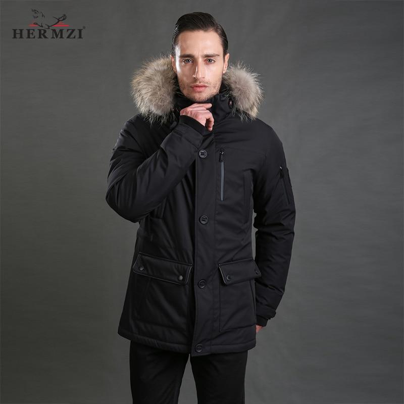 HERMZI 2019 Down Jacket Men Winter Down Coat 80% Duck Down Thick Warm Men Long Down Jacket Down Parka Alaska Real Raccoon Fur