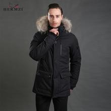 HERMZI 2019 Down Jacket Men Winter Down Coat 80% Duck Down Thick Warm Men Long Down Jacket Down Parka Mens Real Raccoon Fur цена и фото