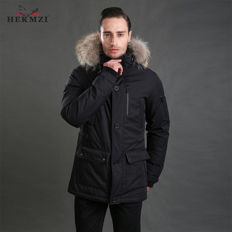 HERMZI 2019   Down   Jacket Men Winter   Down     Coat   80% Duck   Down   Thick Warm Men Long   Down   Jacket   Down   Parka Mens Real Raccoon Fur