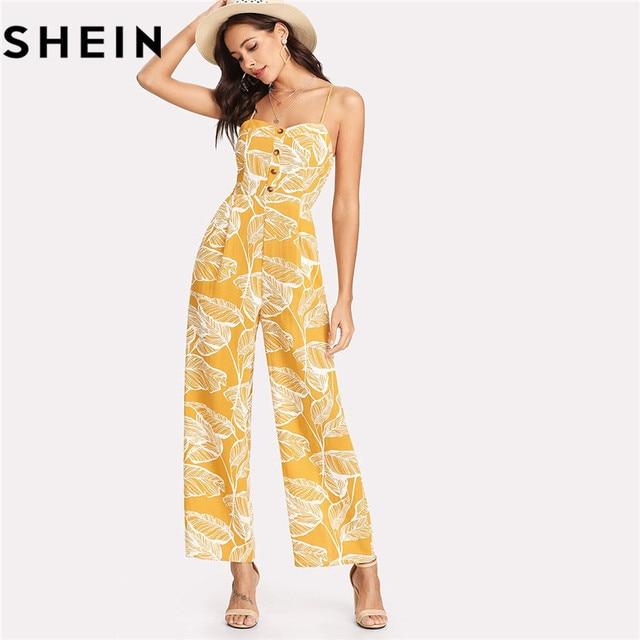 Шеин летние каникулы 2018 Спагетти Ремень Boho Высокая Талия тропическим принтом Print Shirred широкие брюки Cami Palazzo Для женщин комбинезон