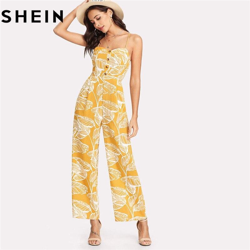 Shein Summer Vacation Spaghetti Strap Boho High Waist Tropical Palm Leaf Print Shirred Wide Leg Cami Palazzo Women Jumpsuit
