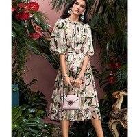 CCCC 2019 Summer Women Silk Vintage Dress Puff Sleeve Lily Print Elegant Midi Dresses Fashion Runway Party Vestidos Robe Femme