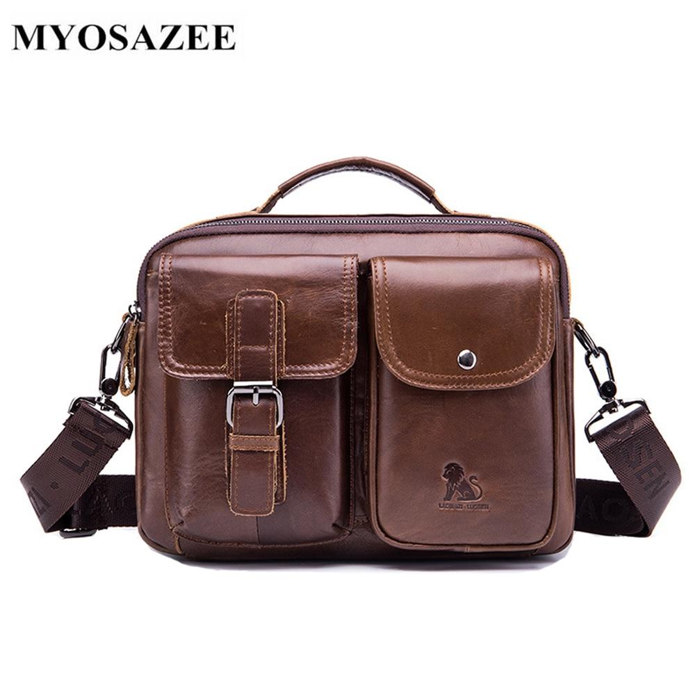 MYOSAZEE Men Shoulder Diagonal Bag Business Briefcase Genuine Leather Mens Fashion 11 inch Bags