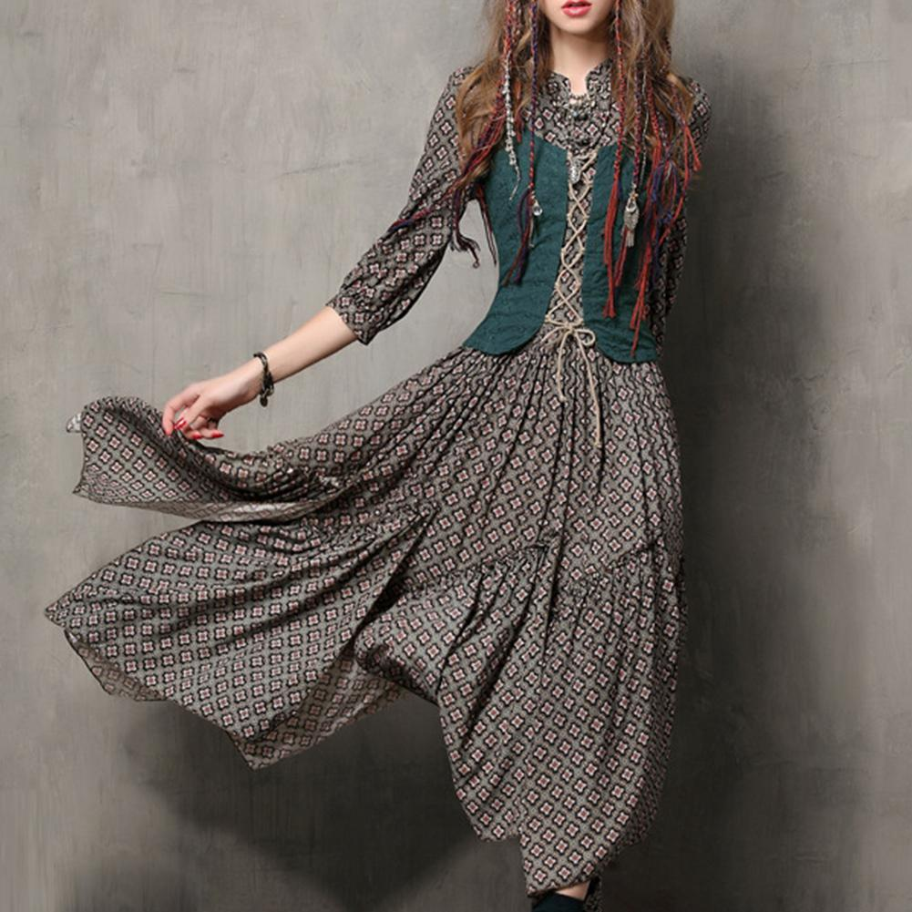 2019 New Yfashion Women Floral Printing Retro Button Embroidered Slim Dress in Dresses from Women 39 s Clothing