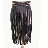 Punk Heavy Metal Handmade Waist Crystel Wide Band Faux Leather Spiked Waist Tassel Fringe Belt Skirt