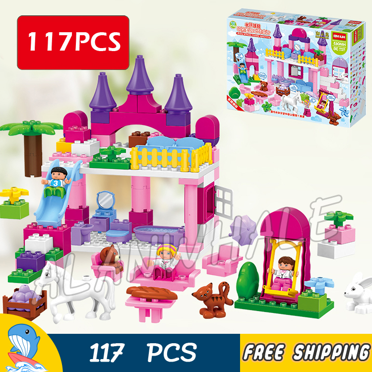 117pcs Princess The First Royal Cinderella's Magic Castle Dream Park Model Building Blocks Toy Bricks Compatible With Lego Duplo big building blocks castle pirate arms armor war cannon model accessories bricks compatible with duplo set figure toy child gift