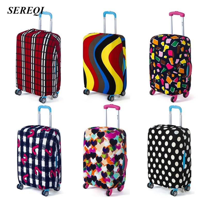 SEREQI Fashion Travel Luggage Cover Elastic Protective Dust Cover Baggage Protection Accessories Holder Apply To 18-30 Inch Case