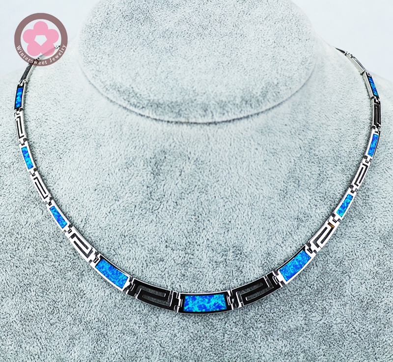 JZN0007 Top Quality Blue Opal Gem Silver Necklace New Trendy Necklace for Women Fine Jewelry Gorgeous Unisex Chain Necklace deaver j carte blanche