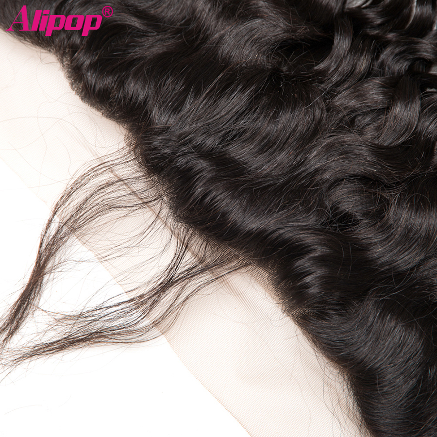 Water Wave 13x4 Lace Frontal Closure Brazilian Human Hair Closure Pre Plucked Frontal Remy curly Closure Natural Black ALIPOP (2)